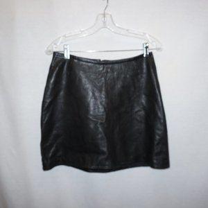 Black leather Aline mini skirt lambskin 6 INC